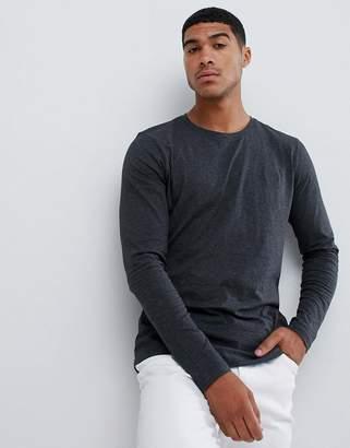 HUGO Derol long sleeve embroidered logo t-shirt in dark gray