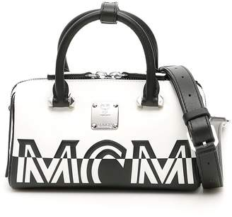 MCM Contrast Logo Boston Mini Bag