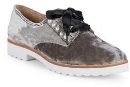 Velvet Pearl Studded Loafers