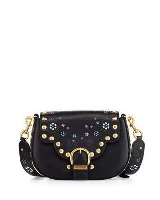 Marc Jacobs Navigator Floral Studded Flap Shoulder Bag, Black $595 thestylecure.com