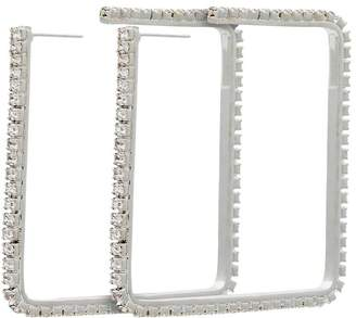 Area silver metallic 2 dewi square crystal earrings