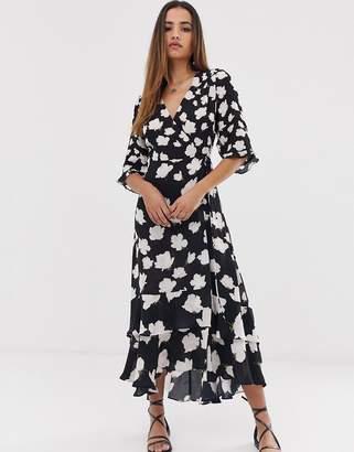dbd61895f0e9 AllSaints delana caro floral print wrap maxi dress