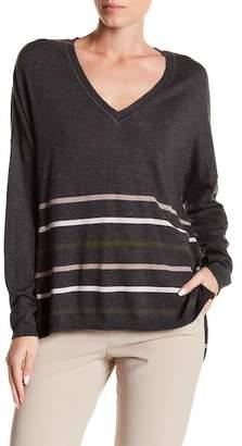 Subtle Luxury Deep V-Neck Horizontal Strip Pullover Sweater