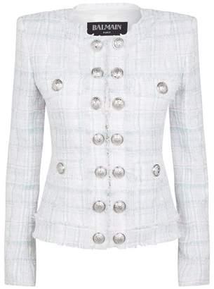 Balmain Collarless Tweed Buttoned Jacket