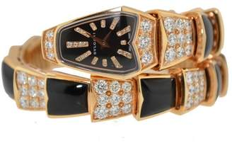 Bulgari Serpenti Snake 18K Rose Gold Onyx Diamond Watch