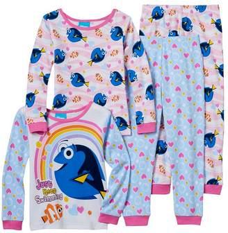 AME Sleepwear Finding Dory Nemo & Dory Girls 4 Piece Cotton Pajama Set