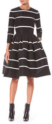 Carolina Herrera Three-Quarter Sleeve Fit-and-Flare Striped Cocktail Dress