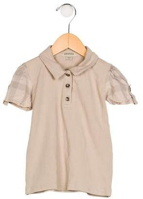 Burberry Girls' Collar Short Sleeve Top