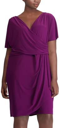 Chaps Plus Size Surplice Faux-Wrap Dress