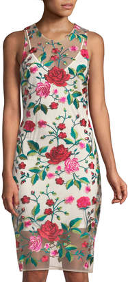 Alexia Admor Floral-Embroidered Illusion Sheath Dress