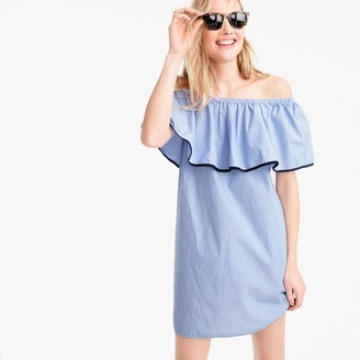 Tipped off-the-shoulder dress in end-on-end cotton $59.50 thestylecure.com