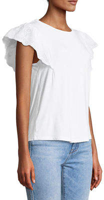 philosophy Lace-Flutter Sleeve Slub Tee