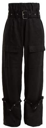 Marques'almeida - Belted Linen Cargo Trousers - Womens - Black
