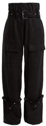 Marques Almeida Marques'almeida - Belted Linen Cargo Trousers - Womens - Black