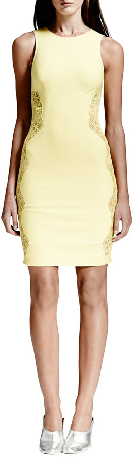 Stella McCartney Lace-Inset Sheath Dress, Citron