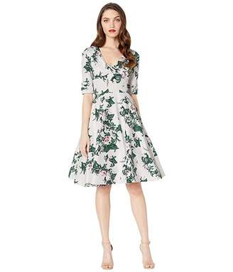 Unique Vintage 1950s Briar Rose Print Delores Swing Dress with Sleeves