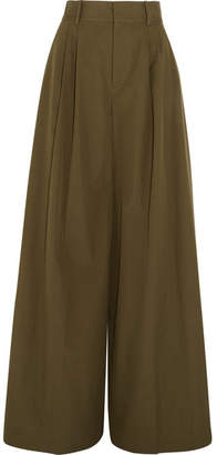 Alice + Olivia Alice Olivia - Dustin Cotton-poplin Wide-leg Pants - Army green