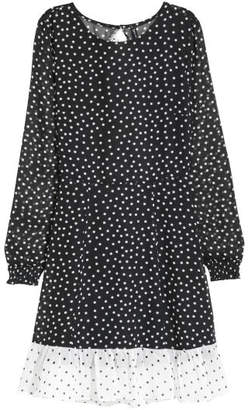 H&M Patterned Chiffon Dress - Black