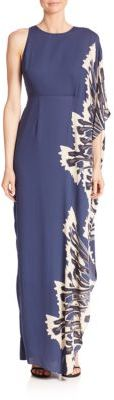 Halston Heritage One Sleeve Printed Gown $495 thestylecure.com