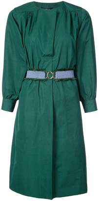 Derek Lam Belted Long Sleeve Shirred Dress