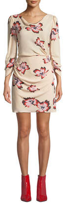 A.L.C. Grace Floral-Print Cowl-Neck 3/4-Sleeve Mini Dress