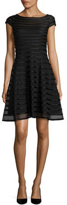 Betsy & Adam Cap-Sleeve Mesh Fit-and-Flare Dress $209 thestylecure.com