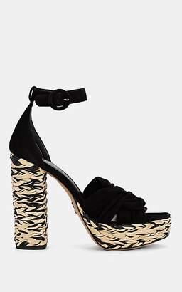 Prada Women's Suede Espadrille Platform Sandals - Black