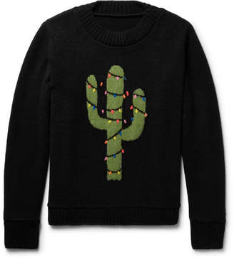 The Elder Statesman Christmas Light Cactus Intarsia Cashmere Sweater