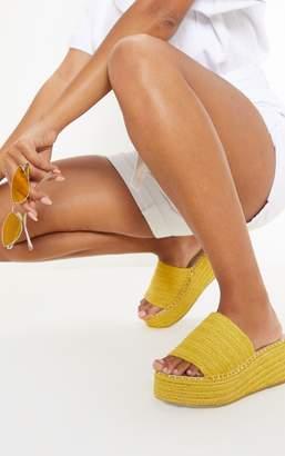 PrettyLittleThing Yellow Espadrille Mule Flatform Sandal