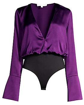 08b26f08390 Caroline Constas Women's Daria Satin V-Neck Bell Sleeve Bodysuit