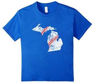 Michigan Baseball State Map Detroit Ann Arbor T Shirt