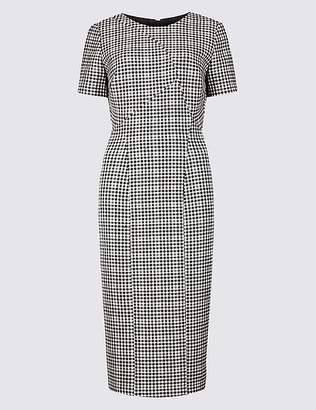 Marks and Spencer Checked Short Sleeve Bodycon Dress