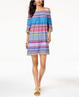 Trina Turk Off-The-Shoulder Emilia Fringe-Trim Dress