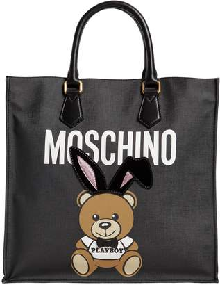 Moschino Teddy Playboy Faux Leather Tote Bag
