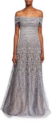 3dafa18d1ce Rene Ruiz Off-the-Shoulder Embellished Tulle Evening Gown. Neiman Marcus ...