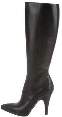Prada Leather Embellished Knee-High Boots