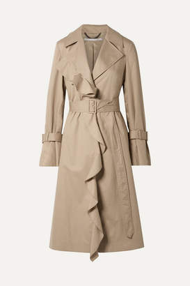Stella McCartney Ruffled Cotton-twill Trench Coat - Beige