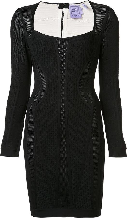Herve Leger jacquard fitted dress