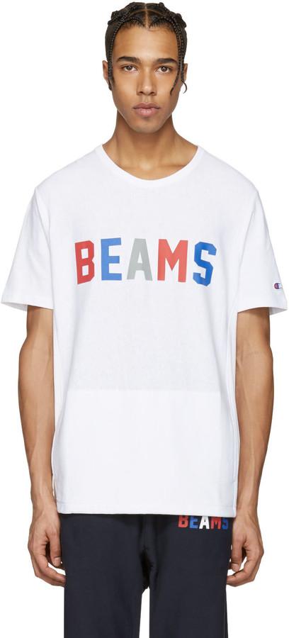 Champion x Beams White Logo T-Shirt