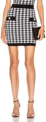 Balmain Houndstooth Mini Skirt in Black & White | FWRD