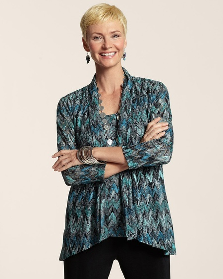 Chico's Travelers Collection Chevron Stitch Jacket