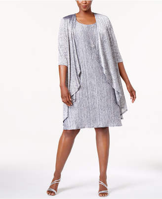 R & M Richards Plus Size Pleated Dress and Draped Jacket $89 thestylecure.com