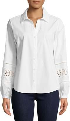 Karl Lagerfeld Paris Button-Down Lace Sleeve Shirt