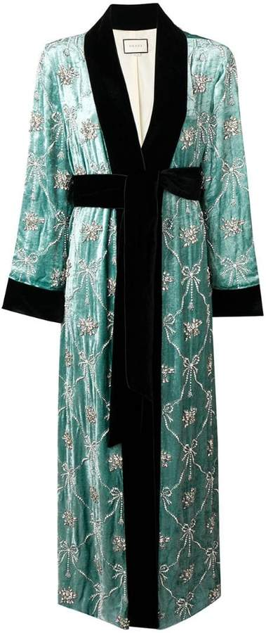 embellished robe coat