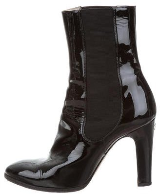 Chanel CC Patent Leather Ankle Boots