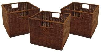 Winsome Wood Small Wired Rattan Baskets