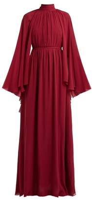 Giambattista Valli Gathered Cape Silk Georgette Gown - Womens - Burgundy