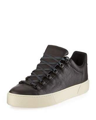 Balenciaga Men's New Arena Leather Low-Top Sneaker, Gray $545 thestylecure.com