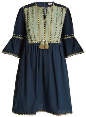 Talitha - Massai Embroidered Cotton Mini Dress - Womens - Navy Multi