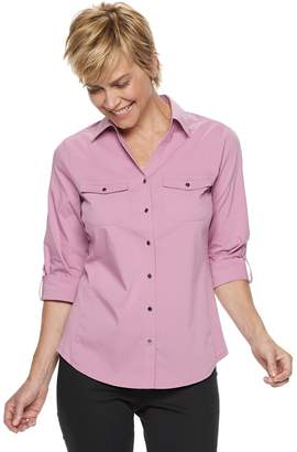 Croft & Barrow Women's Knit-to-Fit Roll-Tab Shirt